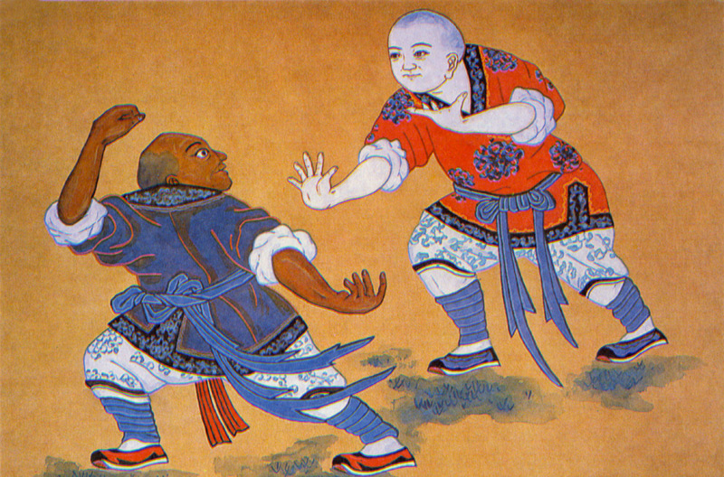 Painting of Shaolin Arhats Practising Boxing